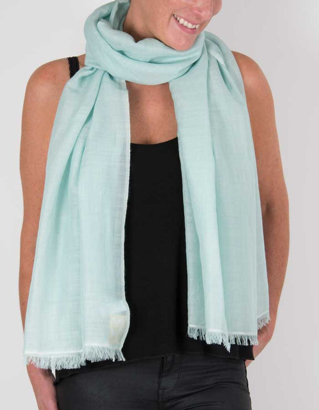 an image showing a silk wool mix pashmina in mint green