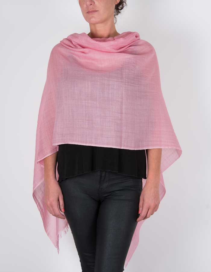 an image showing a silk wool mix pashmina in pink