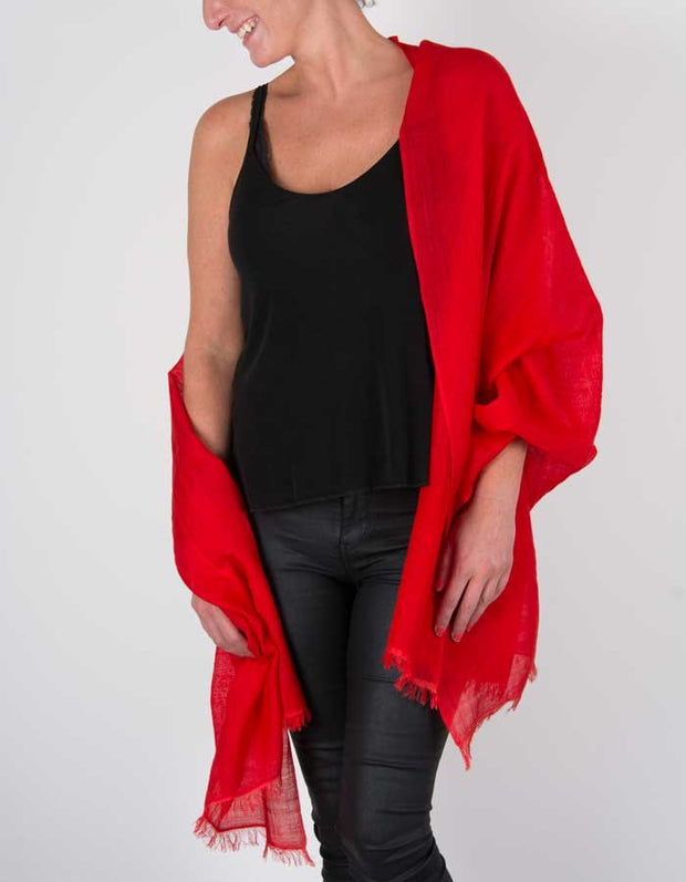 an image showing a silk wool mix pashmina in red