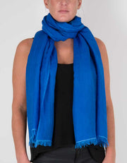 an image showing a wool silk mix pashmina in royal blue