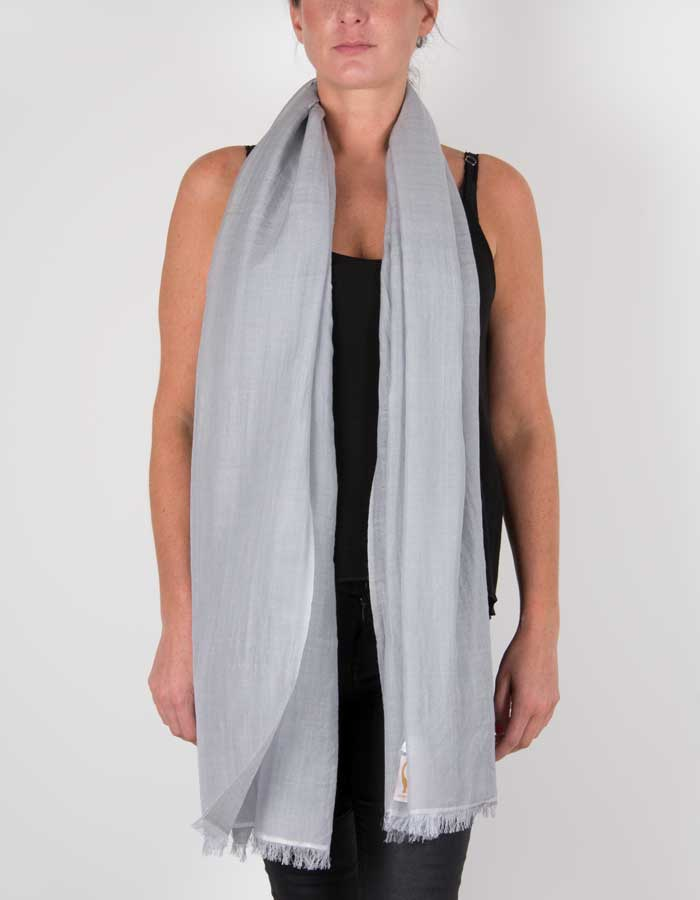 an image showing a silk wool mix pashmina in silver grey