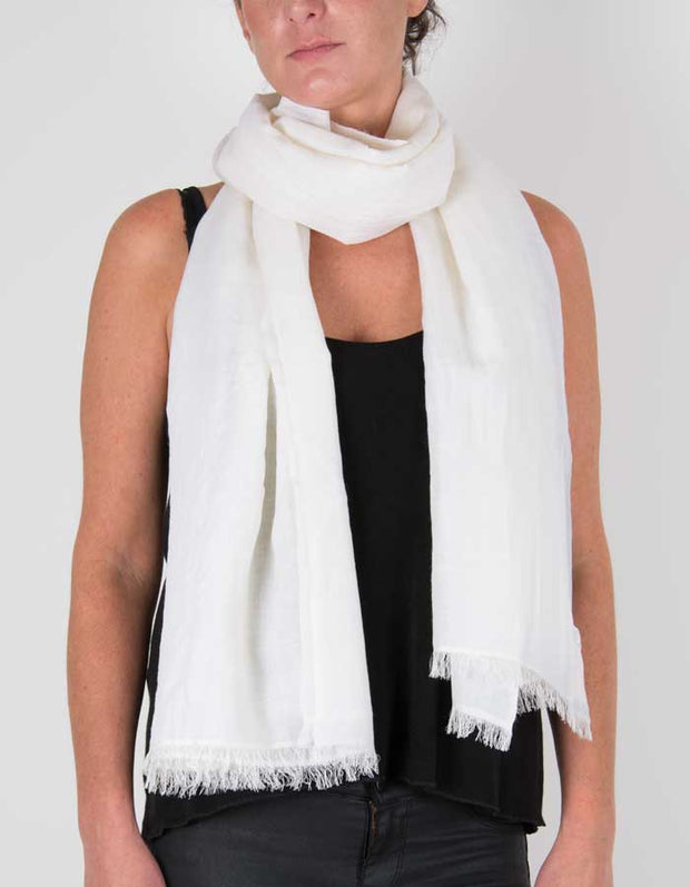 an image showing a silk wool mix pashmina in white