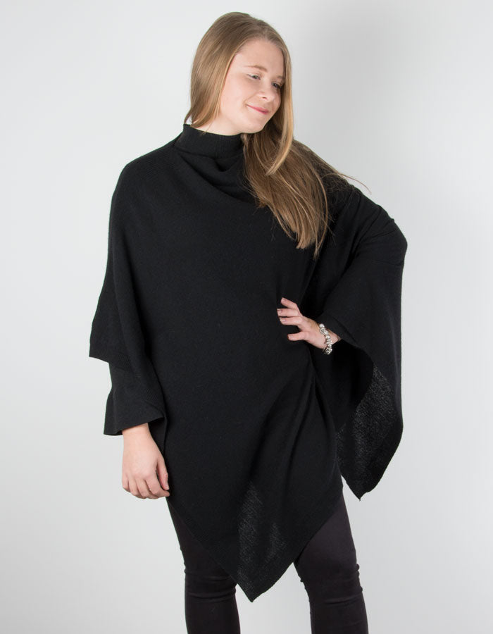 an image showing a cashmere mix black poncho