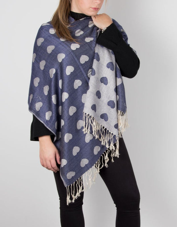 an image showing a blue and silver heart pashmina