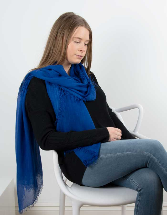 an image showing a blue scarf