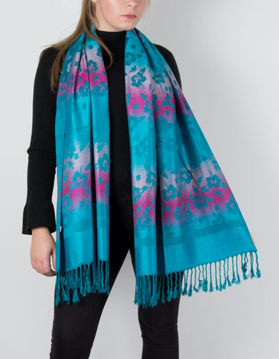 an image showing a bright turquoise pashmina