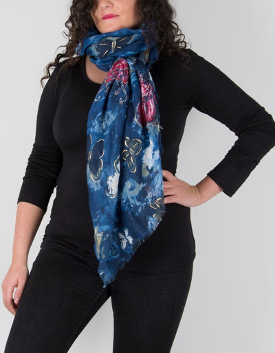 Butterfly Print Scarf Navy