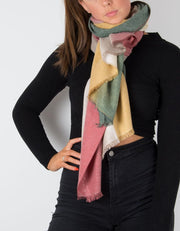an image showing a cashmere mix scarf in green and mustard