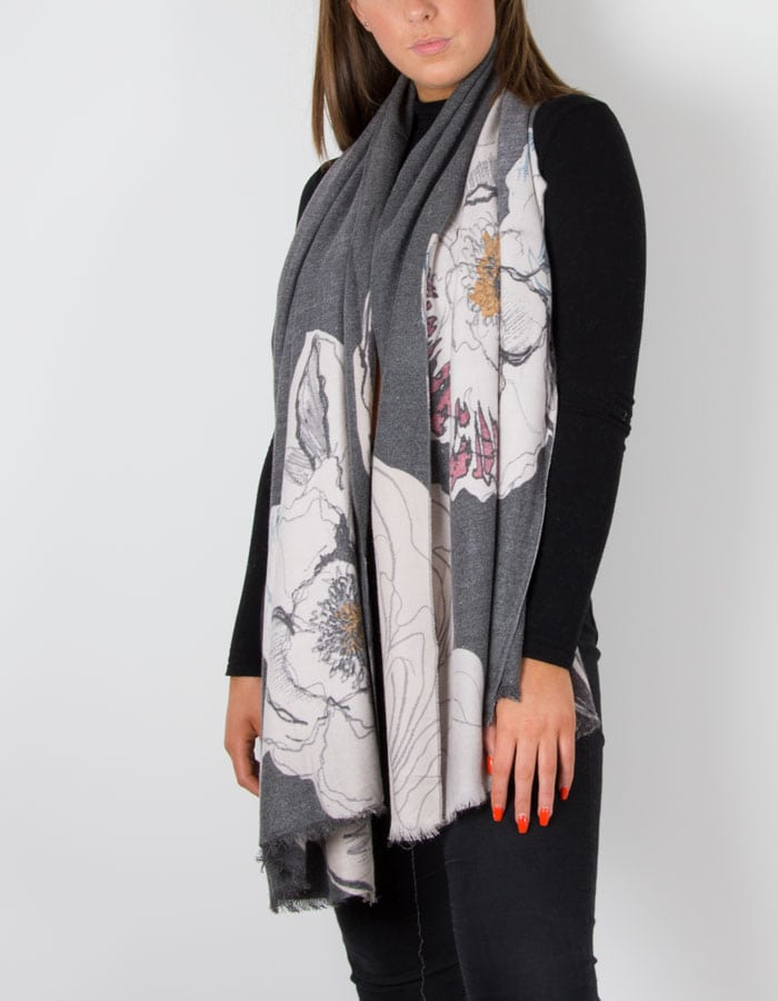an image showing a cashmere mix scarf in grey with a floral print