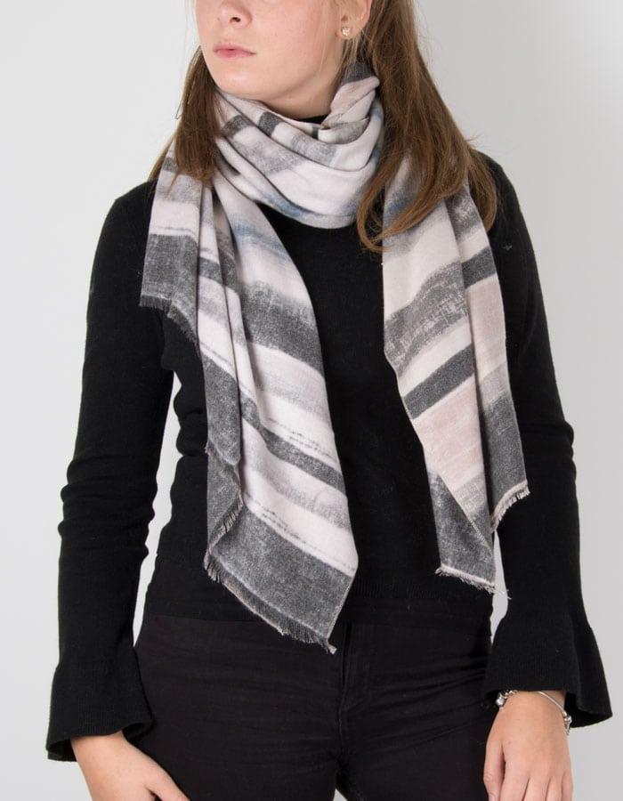 an image showing a grey linear print scarf