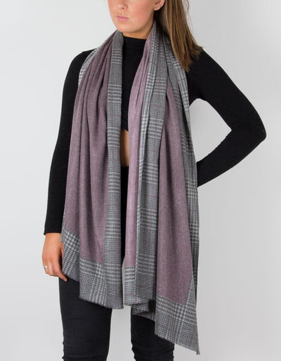 an image showing a mauve cashmere scarf with a herringbone border