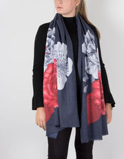 an image showing a floral scarf in a cashmere mix