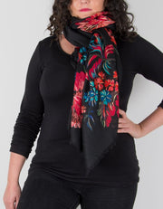 an image showing a floral print scarf in black and red