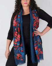 an image showing a floral print scarf in navy and red