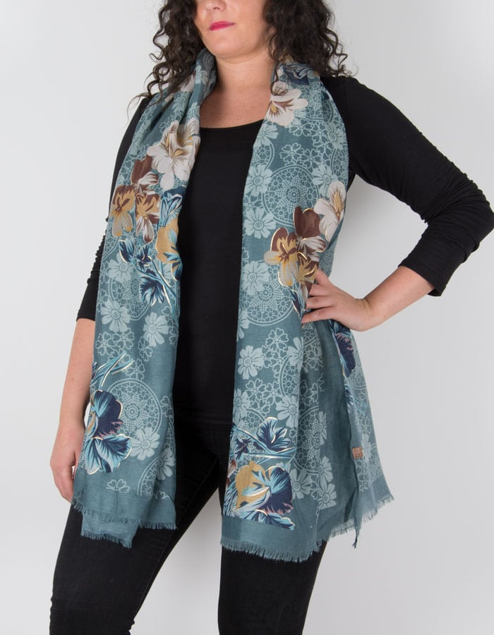 an image showing a floral print scarf in green navy and gold