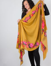 an image showing a mustard scarf with floral print