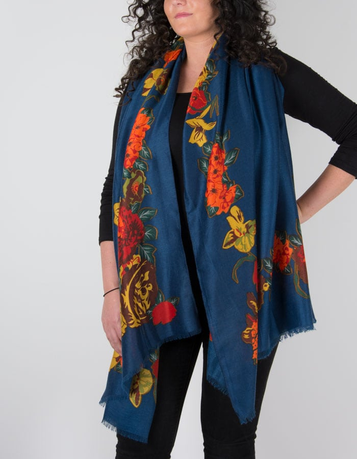an image showing a floral print scarf in navy