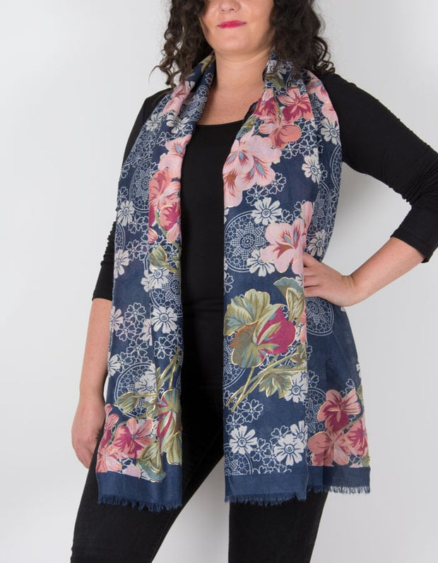 an image showing a floral print scarf in navy pink and white