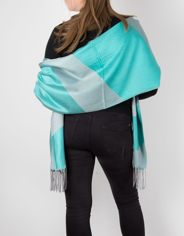 an image showing a green and silver striped pashmina
