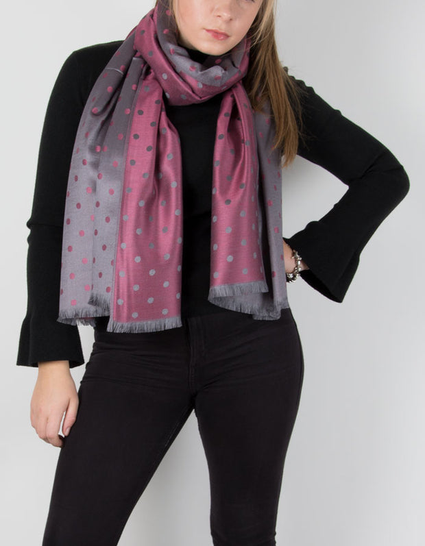 Grey And Pink Polka Dot Patterned Pashmina