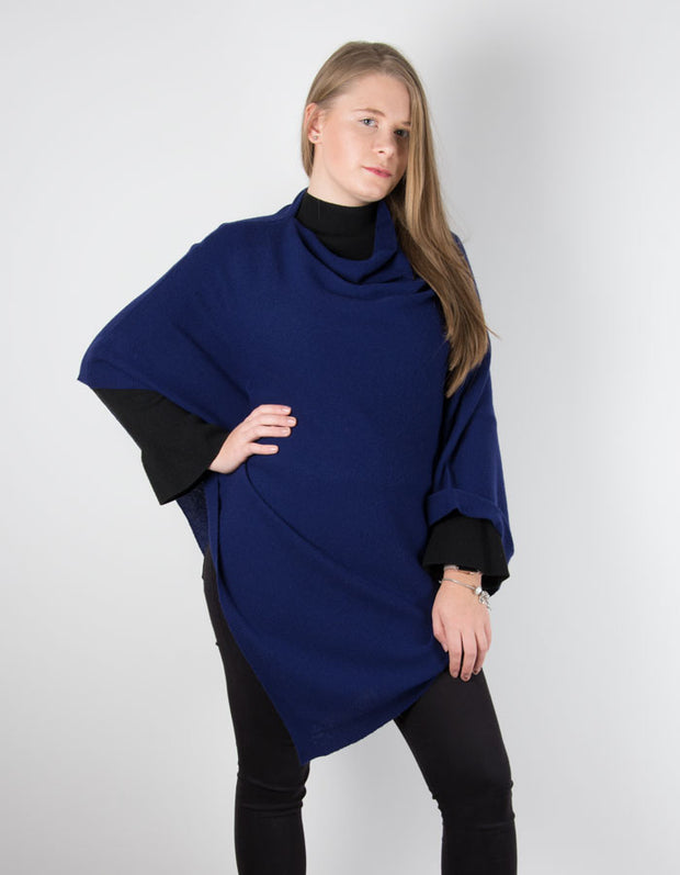 an image showing a navy poncho