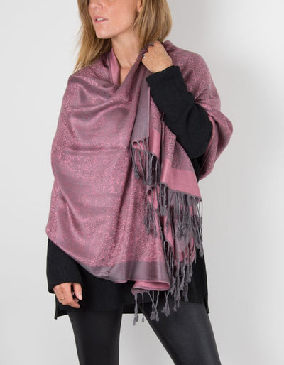 an image of a pink and grey paisley pashmina