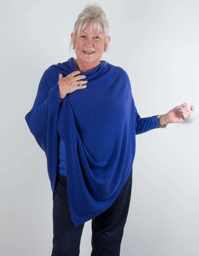 an image showing a royal blue poncho