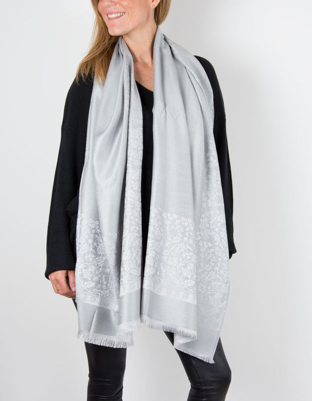 Silver Grey Print Patterned Pashmina