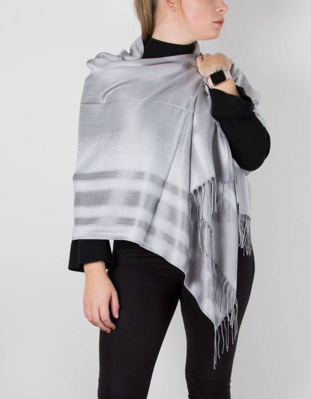 an image showing a silver striped pashmina