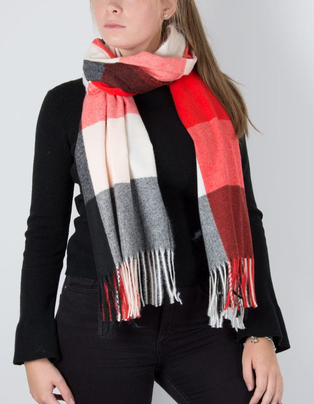 an image showing a winter knit check scarf in red