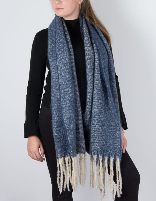 an image showing a winter knit scarf in blue marl