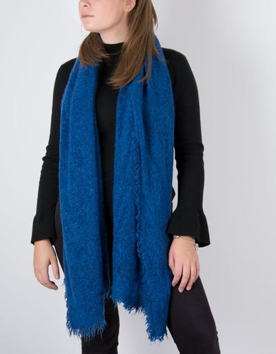 an image showing a winter knit scarf in cobalt blue