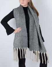 an image showing a winter knit scarf in grey marl