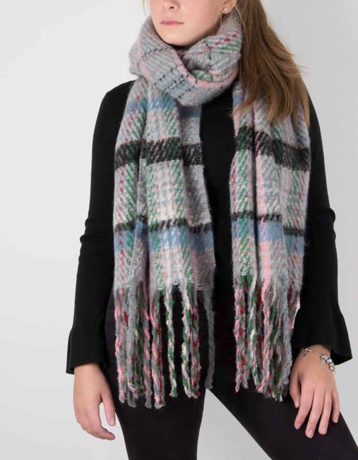 an image showing a winter knit scarf in grey multicoloured