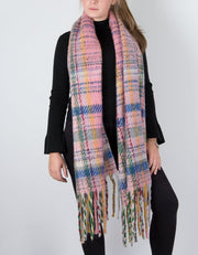 an image showing a winter knit scarf in pink multicoloured