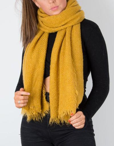 an image showing a winter knit scarf with in mustard