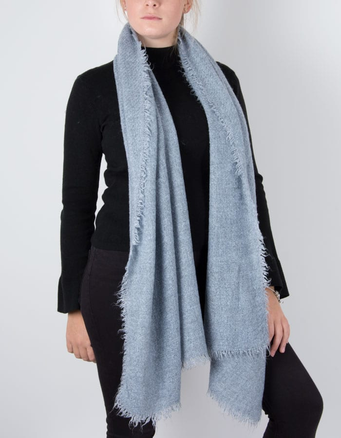an image showing a winter knit scarf in blue