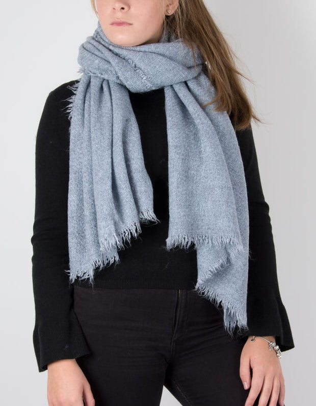 an image showing a pale blue knit scarf