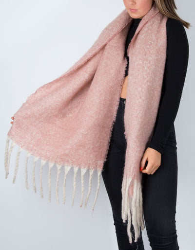 an image showing a winter knit scarf in pink marl