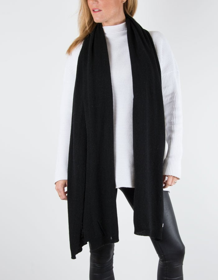 an image showing a black cashmere mix scarf
