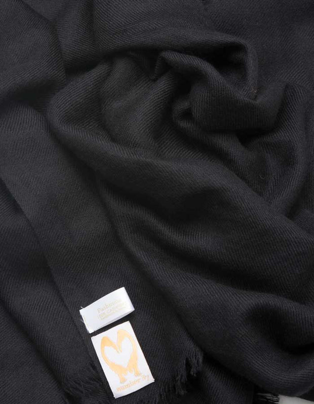 an image showing a black cashmere pashmina scarf