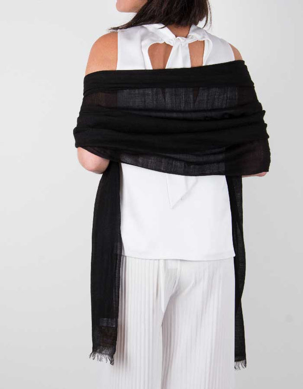 an image showing a silk wool mix wedding shawl in black