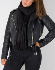 an image showing a winter pashmina in black