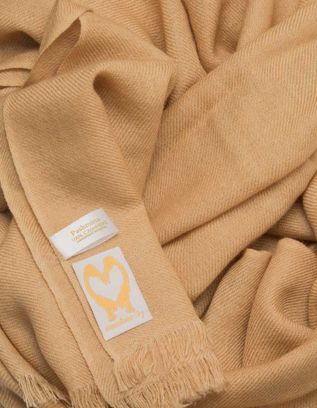 an image showing a gold cashmere pashmina scarf
