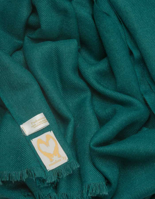 an image showing a pure cashmere wedding pashmina in green
