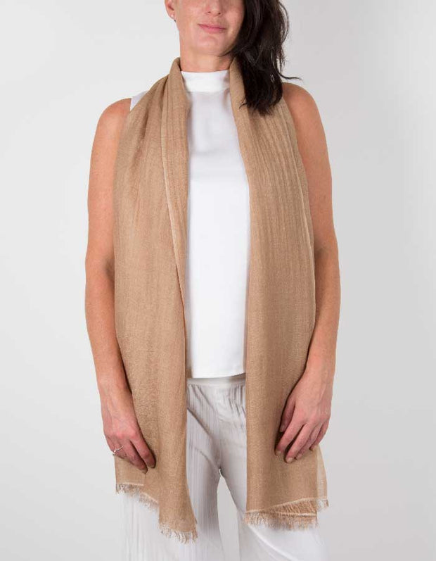 an image showing silk wool mix wedding pashmina in light brown