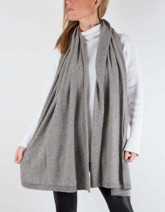 an image of a cashmere mix scarf in grey