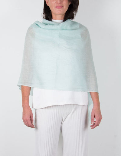an image showing a silk wool mix wedding shawl in mint green