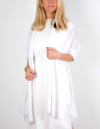 An image showing a cashmere wedding pashmina in white