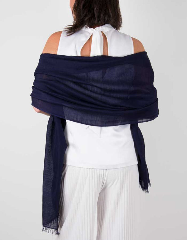 an image showing a silk wool mix wedding shawl in navy blue